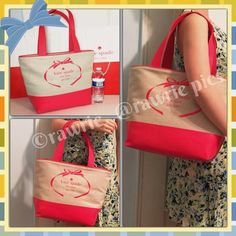 "CLEARANCE New Kate Spade logo canvas tote coral 100% authentic. Natural beige canvas with geranium leather trim. Center Dogleash-clip closure. Inside zip pocket. Handles drop 9"". Measures 16""top/11""bottom x 11.5"" (H) x 6"" (W). Brand new with tags. Comes from a pet and smoke free home. kate spade Bags Totes"