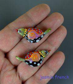 Jasmin French Lampwork Bird Focal/Pendant Beads °°BIRDS WITH  NECKLACES °°♥♥