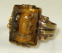 Antique Vintage Natural Carved Tigers Eye Roman Soldier 10k YG Mens Ring 7g