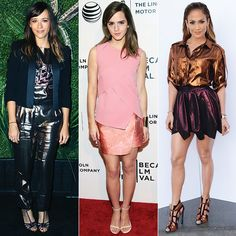 I IS FOR IRIDESCENCE Rock heavy metals with slick pieces that catch beams of light at every shimmy. Jennifer Lopez stole the spotlight with her fierce copper Lanvin and burgundy Vivienne Westwood pairing, while Rashida Jones toned down her Lanvin shine with a sharp blazer. Emma Watson took a different approach, taking on the shimmery textile with Narciso Rodriguez's blush pink creation.