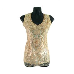 Floral Crystal Embellished 1930s Tunic Top Sleeveless by Jywal