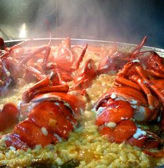 Arroz con Bogavante de mi mami. Rico.  Lobster with thick rice broth.