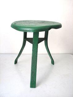 Vintage Green Metal Milking Stool