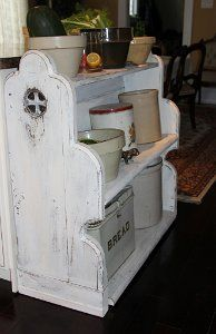 Decommissioned Church Pew Rebuilt into a Pantry with a Slide out Lower Shelf Low Shelves, Shelf, Art Furniture, Pantry, Armchair, Home Decor, Pantry Room, Sofa Chair, Shelving