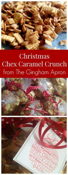 Christmas Chex Caramel Crunch- whip up this addictively delicious treat for your neighbors, friends, and kids' teachers this Christmas. The easiest and BEST!