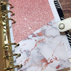 Divider with Pocket, Folder Divider for A5 and Personal size planners. Marble and Rose Gold