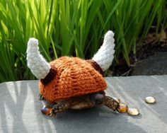 You won't lose your tortoise during yard play with one of these! Viking helmet tortoise cozy made to order your by MossyTortoise