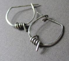 Hoop Earrings, Barbed Wire, Sterling Silver, Unisex - Anti Establishment Earrings on Etsy, $33.00
