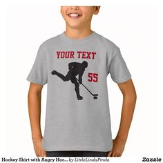 Customizable T-Shirt made by Zazzle Apparel. Personalize it with photos & text or shop existing designs! Hockey Sweatshirts, Little Linda, Hockey Gifts, Sport T Shirt, Colorful Shirts, Fitness Models, Boys, Mens Tops, Hockey Apparel
