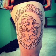 Belle pinup tattoo- Would need a lot more detail in facial features, (thinner face, etc). but I loveee *
