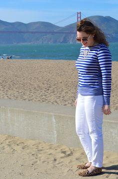 Striped tee + white jeans