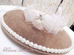 Lace with Tulle Bridal Headband, Floral Pearl Headband, Rhinestone Headband, Wedding Headpiece, Fascinator