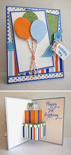By Janette. Birthday card. Lots of layers and designer papers.