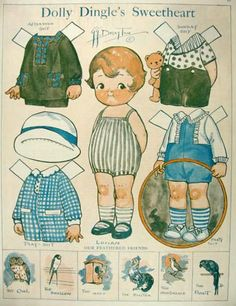 dollie dinkle paper dolls | 1927 Dolly Dingle Paper Dolls ~ Dolly's Sweetheart Lucian