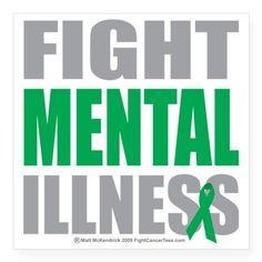 "Fight-Mental-Illness Square Sticker 3"" x 3"""