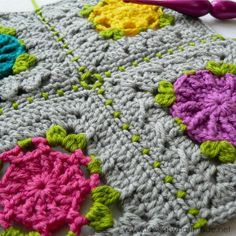 "Part 2 of ""Joining Crochet Squares"" is a tutorial for doing a (sc, ch 1, skip 1) join and attaching squares to each other diagonally (like steps)."