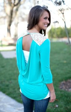 I'll Be There Mint Lace Blouse