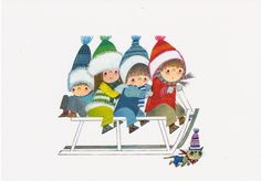 winter to do : sleetje rijden Winter Illustration, Retro Illustration, Christmas Illustration, Children's Book Illustration, Sweet Drawings, Winter Kids, Picture Cards, S Pic, Pictures To Draw