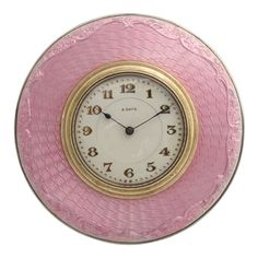 Art Deco Sterling Silver and Pink Guilloche Eight Day Clock, England  1920's