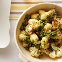 Garlic Roasted Cauliflower~~5 Carbs Per 1/2 Cup. Serve With Green Pea Pesto (Recipe At Bottom).
