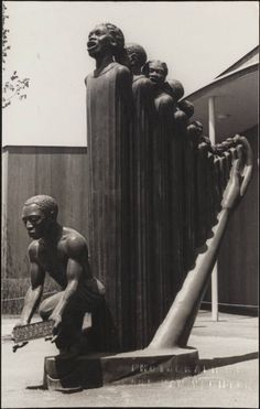 This compelling sculpture, titled 'Lift Every Voice and Sing,' was designed by Harlem Renaissance artist Augusta Savage for the 1939 World's Fair. It stood 16 feet tall. A temporary installation, it was unfortunately destroyed after the close of the fair.