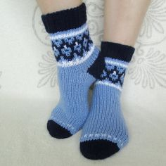 Your place to buy and sell all things handmade Hand Knitted socks Wool socks Handmade blue socks Warm socks Norwegian socks Christmas gift Always wanted to learn to kn. Poncho Knitting Patterns, Knitting Stitches, Knitting Socks, Hand Knitting, Knitted Hats, Loom Scarf, Loom Hats, Socks For Sale, Blue Socks