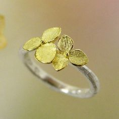 Hydrangea Blossom Ring Stacking Ring by PatrickIrlaJewelry on Etsy, $288.00