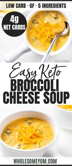 Recipes Broccoli Easy Broccoli Cheese Soup Recipe – 5 Ingredients - How to make the best broccoli cheddar soup in 20 minutes! This easy, low carb broccoli cheese soup recipe is healthy, CHEESY, 5 ingredients, & gluten-free. Low Carb Soup Recipes, Healthy Recipes, Ketogenic Recipes, Real Food Recipes, Keto Recipes, Dessert Recipes, Breakfast Recipes, Vegetarian Recipes, Easy Recipes
