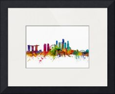 """""""Singapore Skyline"""" by Michael Tompsett, Castellon // Watercolor art print of the skyline of Singapore // Imagekind.com -- Buy stunning fine art prints, framed prints and canvas prints directly from independent working artists and photographers."""