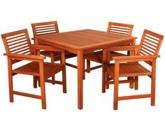 Melrose Patio Set . $499.99. Melrose patio set includes 4 outdoor patio chairs and a matching outdoor patio table, as pictured. Made of Eucalyptus, a Plantation-Grown Hardwood (not rain forest wood) that is a lovely reddish-brown colored wood similar to teak but much less expensive! Table dimensions: 39 wide x 39 length x 29 high. Chair dimensions: 23 wide x 19 deep x 34 high (in inches). Table legs can be easily unassembled (2 bolts each) for winter storage. This ite...