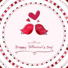 Valentine Card Love Birds Vector Graphic