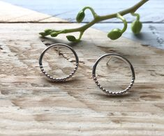 Pretty circle earrings in recycled silver and sterling silver, Unique earrings, Recycled packaging, Ethical jewellery, Gift for her. Circle Earrings, Stud Earrings, Pillow Box, Hummingbird, Hand Stamped, Studs, Contrast, My Etsy Shop, Texture