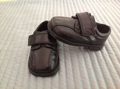 Boys Teeny Toes Black Dress Shoes Leather Velcro Strap Shoes Size 3 Free Ship #teenytoes #DressShoes
