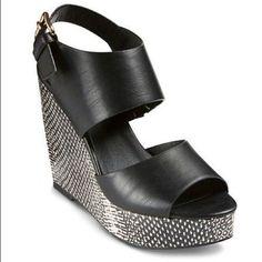 86a1d311fef582 Mossimo Womens Black Skyler Platform Sandal w Snakeskin Print Wedge Size 9  - NEW