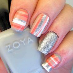 Multi-colour nail art stripes photo tutorial