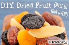 How to Make Dried Fruit in Your Oven. So much cheaper and healthier than the stuff you buy at the store, which is full of additives. So trying this!! | via @SparkPeople (scheduled via http://www.tailwindapp.com?utm_source=pinterest&utm_medium=twpin&utm_content=post296305&utm_campaign=scheduler_attribution)