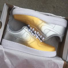 Nike Air Force 1 Lows Gold & Silver Fade Custom Men by NYCustoms