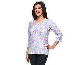 Denim & Co. Perfect Jersey 3/4 Sleeve Watercolor Print Top