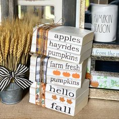 Fall Decor / Stamped Books / Fall decorations / Farmhouse decor / Tiered tray decor / Hello f. Fall Decor / Stamped Books / Fall decorations / Farmhouse decor / Tiered tray decor / Hello fall / P, Farmhouse Books, Farmhouse Decor, Modern Farmhouse, Farmhouse Style, White Farmhouse, French Farmhouse, Pumpkin Books, Adornos Halloween, Fallen Book