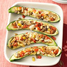 Get your fill of veggies with these Chicken and Tomato-Stuffed Zucchini. Recipe: www.bhg.com/recipe/chicken/chicken-and-tomato-stuffed-zucchini/?socsrc=bhgpin082812chickenstuffedzucchini
