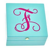 Monogrammed Bauble Box- Aqua – Monogram Eye Candy