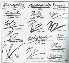 L'évolution de la signature de Napoléon Bonaparte de 1792 à 1816