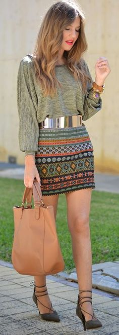 Multi Tribal Print Mini Skirt by Mi Aventura Con La Moda