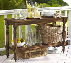 Enjoy al fresco meals with patio dining furniture from Pottery Barn. Shop wood and metal outdoor dining sets in a range of sizes, styles and colors. Outdoor Console Table, Outdoor Dining, Outdoor Spaces, A Table, Outdoor Buffet, Porch Table, Serving Table, Outdoor Tables, Outdoor Kitchens