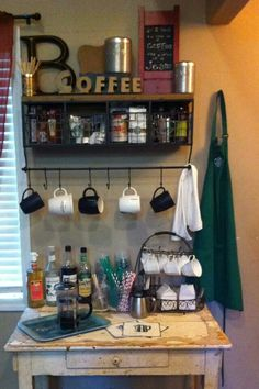 "I should hang my apron by my home Coffee Bar too!!! Coffee bar!! Does this not scream ""Tyler!""?"