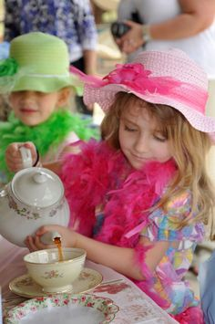 """Hats, Feather Boas, Real China,   Easter Colors        Tea Party / Tea Party """"Tea Party"""" 