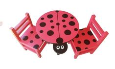 Eye-catching set of our medium ladybird table and 2 matching chairs. Handmade just for kids in the Eastern Cape from solid wood, with handpainted details. Table And Chair Sets, Solid Pine, Joinery, Baby Hats, Cute Kids, Arts And Crafts, Kids Shop, Hand Painted, Children