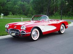 1960 Corvette Convertible, Roman Red, White Coves, Red Interior, 283-230 hp. V8, T-10 4-spd.