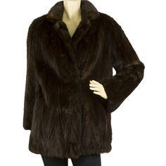 George Tzelalis Genuine Fur Dark Brown Hips Length Jacket Coat