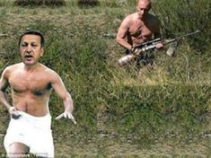 Parody: Social media pranksters have reacted to Russia's diplomatic battle with Turkey with memes, with one showing Vladimir Putin (right) chasing Turkish President Recep Tayyip Erdogan with a rifle